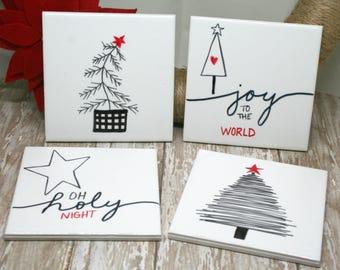 Christmas Coasters | Christmas Drink Coasters | Ceramic Tile Coasters | Christmas Ceramic Tile Coasters | Drink Coasters