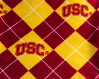 New fleece fabric, 1.5yards, USC college red and yellow argyle, red/yellow plaid.