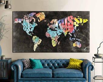 World maptravel map posterpush pin world mapcustom world typographic world text mapworld map abstract wall art canvas print large wall art gumiabroncs Image collections