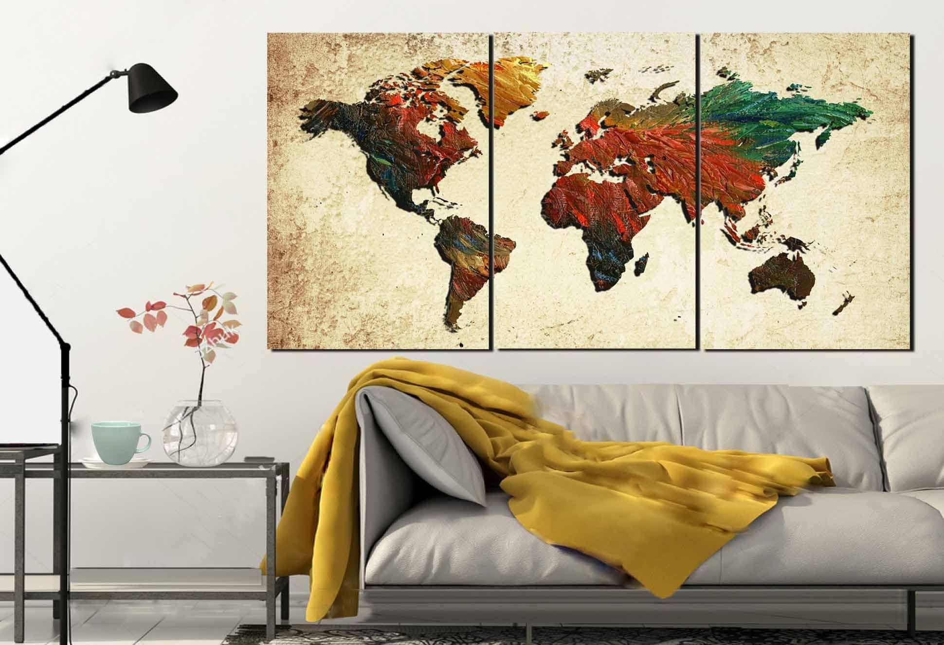 Large World MapWorld Map World Map Painting Abstract Map Wall - Large world map painting