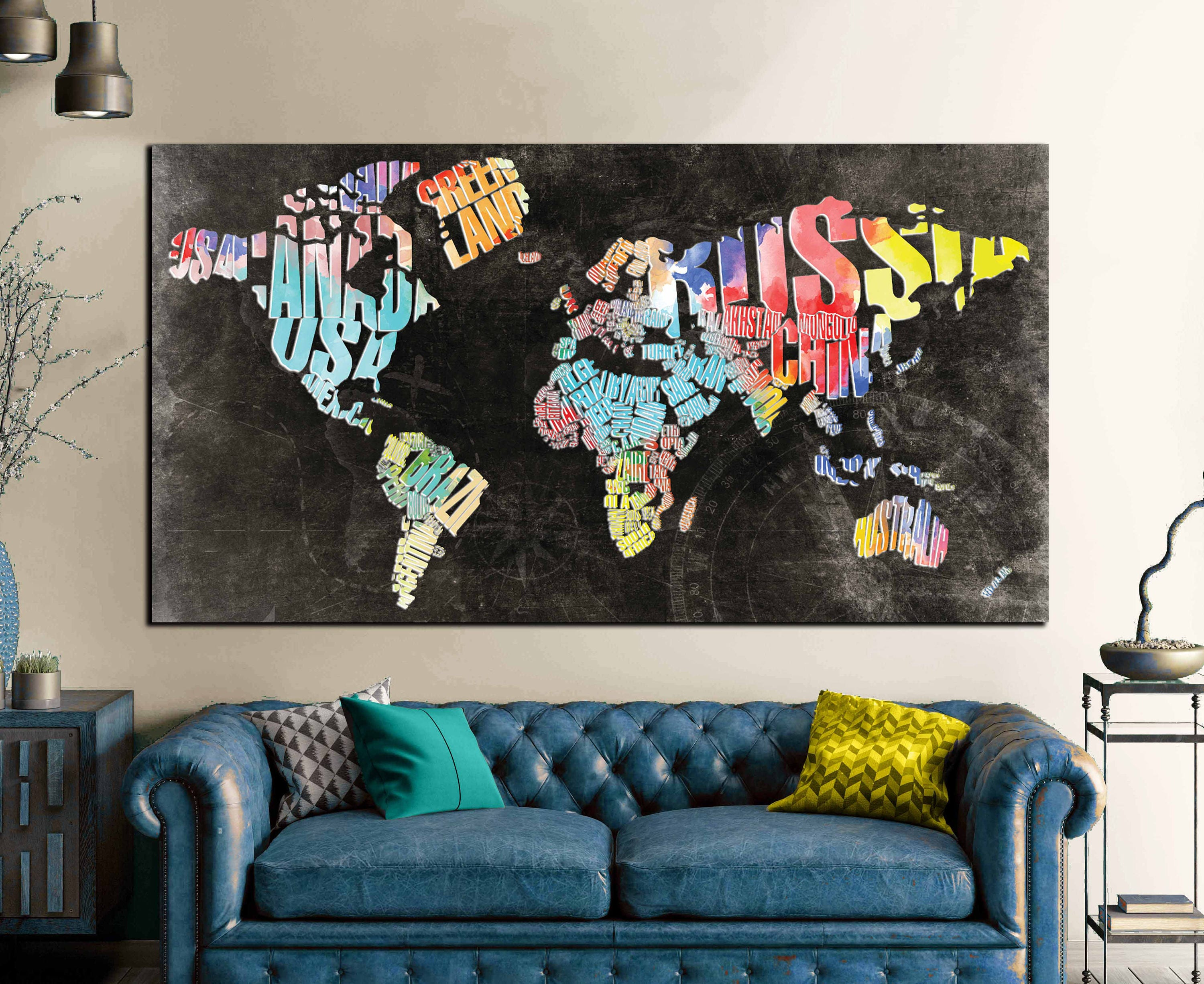 Animal world map print by artpause notonthehighstreetcom world typographic world text mapworld map abstract wall art canvas world map decorative print gumiabroncs Images