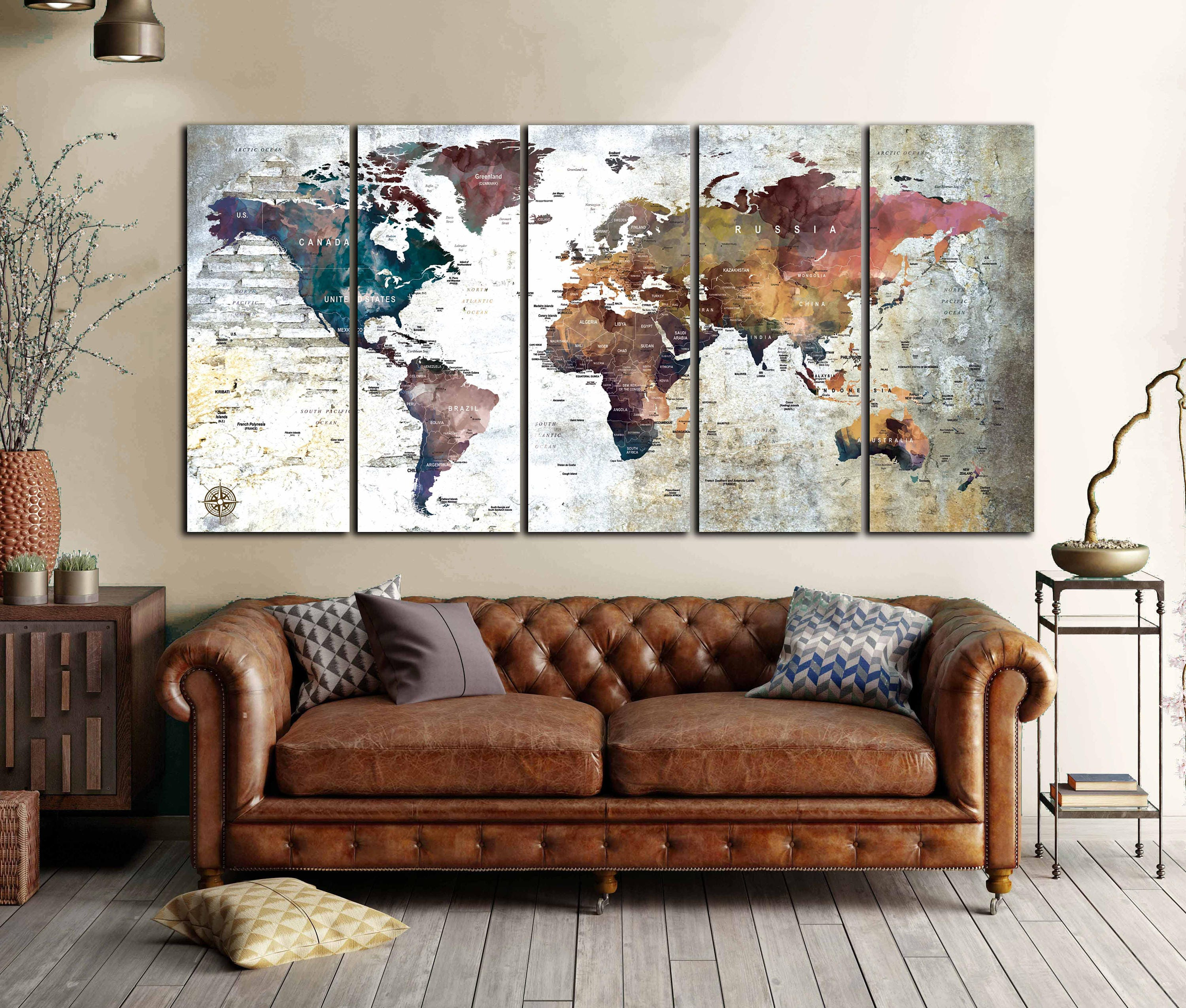 large world map canvas panels world map wall art world map art world map print world map canvas. Black Bedroom Furniture Sets. Home Design Ideas