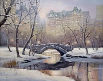Central Park, New York Manhattan Original Oil Painting Archival Print - Cityscape, Winter Scene, Building, Snow, Stone Bridge, Stream
