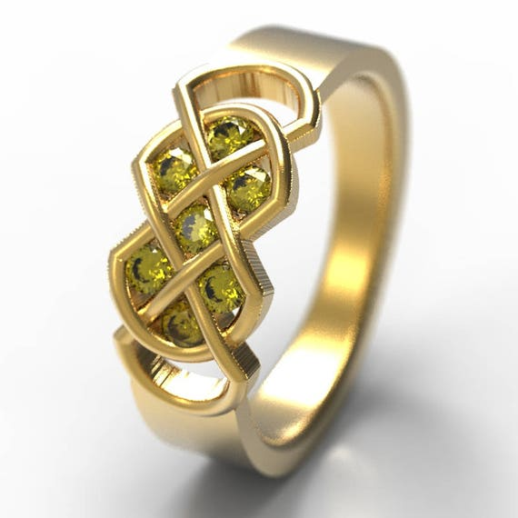 Celtic Yellow Sapphire Ring With Infinity Knot Design in 10K 14K 18K Gold, Palladium or Platinum Made in Your Size CR-771