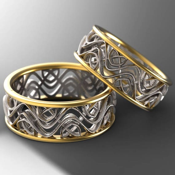 Celtic Bi-Metal Gold Wedding Ring Set With Celtic Dara Interwoven Knotwork Design in 14K Gold, Made in Your Size CR-642