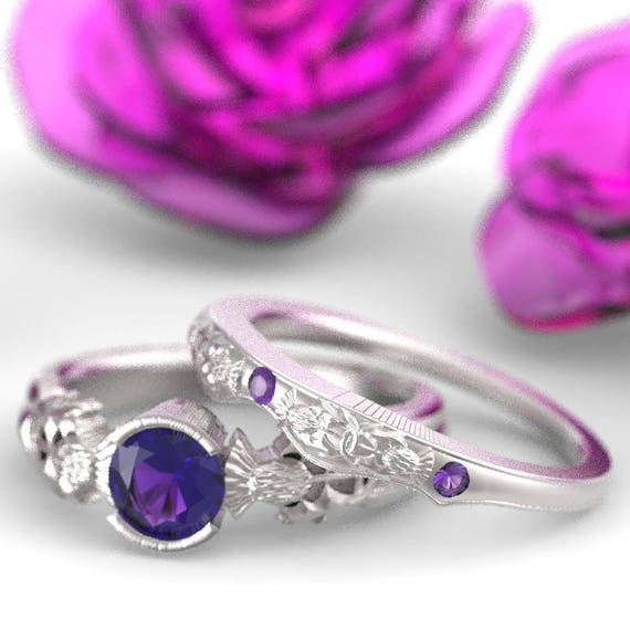 Thistle Engagement Ring Set, Sterling Silver Amethyst Ring, Scottish Solitare, Handcrafted Rings, Alternative Engagement Ring 5062