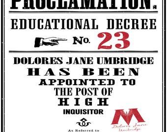 Harry Potter Printable Hogwarts Educational Decrees 8 Pack Prints Posters Harry Potter Gift Wall Art Decor Digital Download