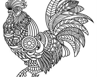Adult Coloring Page Printable Rooster Digital Download Stress Relief Geometric
