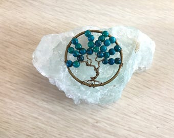 Just Because Gifts, Tree of Life Pendant, Blue Australian Jasper, Wire Wrapped Tree, Unique Birthday Gift, Anniversary Gift,