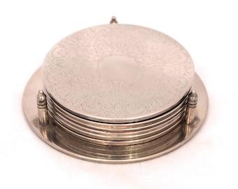 Vintage Silver Plated Coaster Set, Set of Silver Coasters With Holder, Ornate Coaster Set, Silver Coaster Holder, Silver Drink Coaster