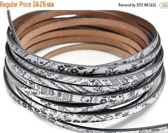 """ON SALE 5MM Flat Leather Cord Graffiti - High Quality Leather Cord - Made in Eu - Qty. 1M/39.4"""""""