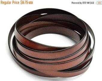 """ON SALE Whisky Brown 10MM Flat Leather - 2t/24"""" - High Quality European Leather Cord"""