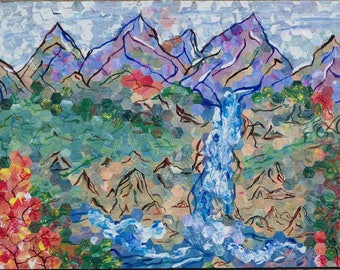 Waterfall in Autumn scene with Mountains abstract paper collage