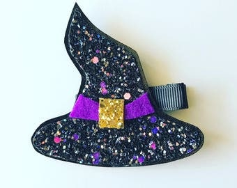 Glitter Witch Hat Clip or Headband