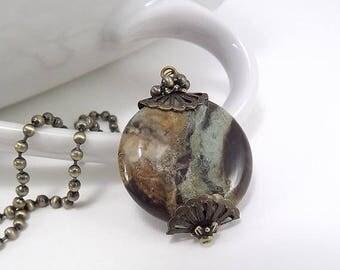 END Of SUMMER SALE Antique Brass Necklace - Large Snakeskin Jasper Bead Pendant