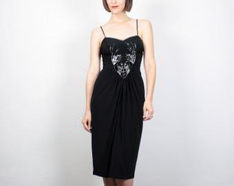 Vintage Little Black Dress XS Dress Extra Small SEQUIN Bead 80s Mini Dress Wiggle Dress 1980s Dress Pencil Tulip Skirt Party Dress NYE Glam