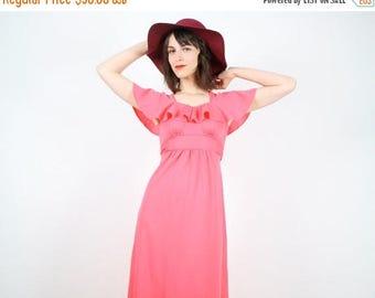 Vintage Hippie Dress Maxi Dress Coral Pink Dress Ruffle Flutter Angel Sleeve Empire Waist Dress Boho Festival Sundress 70s XS S Extra Small