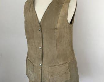 1970s suede waistcoat mustard leather vest boho 70s hippy jerkin cream beige gray UK 16 fitted waist coat
