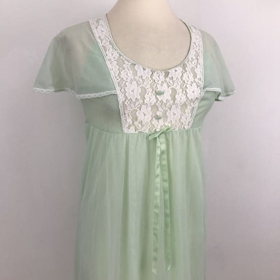 Vintage nightgown mint green nylon nightie frilly lace neckline long sheer night dress 1960s cape pastel pin up budoir gown UK 10 12