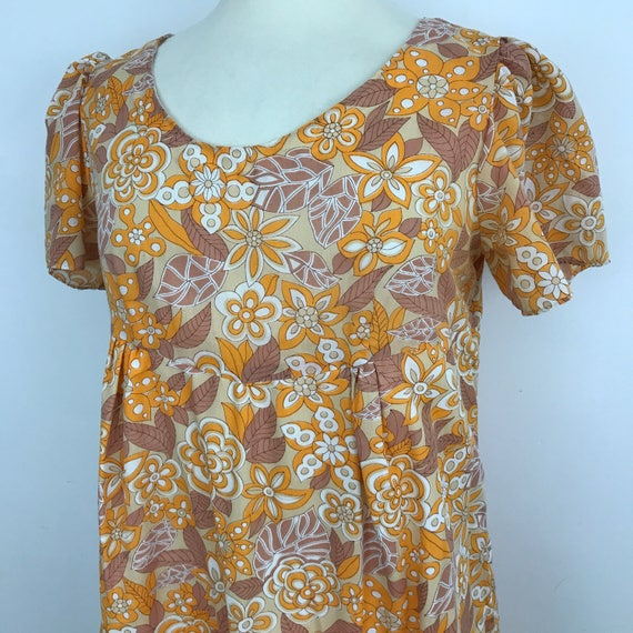 vintage 1960s Mod dress psychedelic daisy print shift orange white scooter girl cotton mix 60s UK 16 plus size babydoll handmade