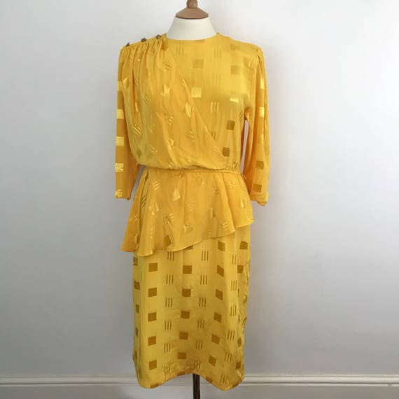 Vintage dress bright yellow dress silky  polyester mustard sexy secretary office look 1980s dress UK 14 avant garde 80s glam