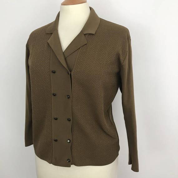Mod cardigan mink brown courtelle knit crimplene cardi 1960s 70s style GoGo vintage knitwear UK 16
