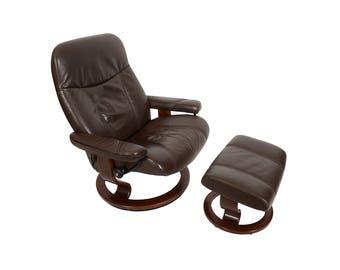 Leather Ekornes Stressless Reclining Chair & Ottoman Norway Mid Century Modern