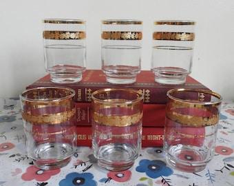 6 Gold Band Vintage Drinking Glasses