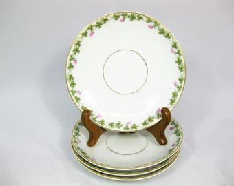 Porcelain Saucers, Bone China Saucers, Clover pattern, set of 4