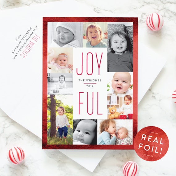 Christmas Cards with Red Foil Border, Multi Photo Christmas Cards with Photo Gallery Layout, Foil Pressed Holiday Cards | Bordered Joy