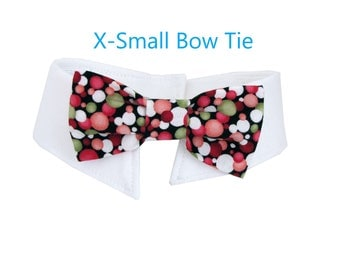Red and Green Polka Dot Bow Tie, Necktie, or Bow on a Shirt Style Collar for both Dogs & Cats