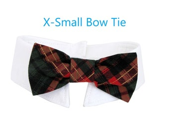 Tartan Bow Tie, Necktie, or Bow on a Shirt Style Collar for both Dogs & Cats