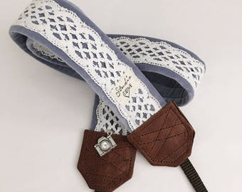 Studio Love Camera Strap: lace blue velvet lace pro photographer dslr leather
