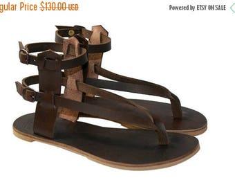15% OFF Brown Leather Sandals for Women & Men - Design 24 - Handmade Leather Sandals, Casual Leather Flats, Unisex Sandals, Genuine Leather