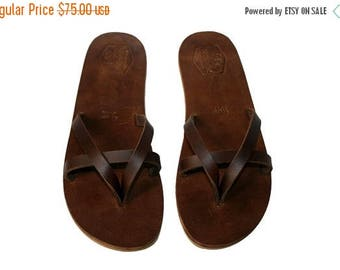 15% OFF Brown Leather Sandals for Women & Men - 11b - Handmade Leather Sandals, Casual Leather Flats, Unisex Sandals, Genuine Leather Sandal