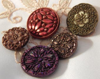 Tinted Vintage Black Glass Fashion Buttons - 4 Different Patterns but 5 Buttons