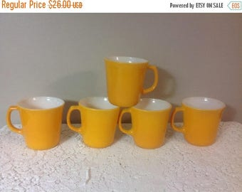 4th of July sale Yellow Corningware Coffee Cups/Mugs Vintage Mustard Yellow Coffee Cups Mugs