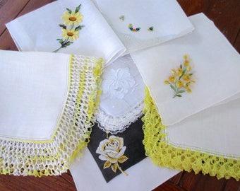 Wedding   Handkerchiefs , Vintage Hankies   ,  Hanky ,  Batiste  Embroidery  Yellow   Handkerchiefs  - set of 7.