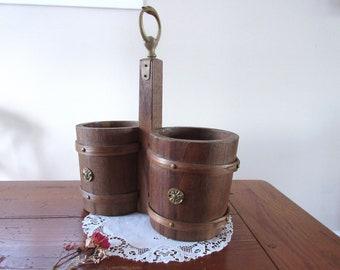 Antique Primitive Wooden  Bucket Primitive Utensil Holder  Rustic Farmhouse Decor