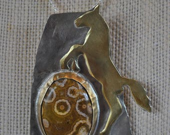 Silver and brass Horse Pendant necklace, ocean jasper gemstone, rustic, metal necklace