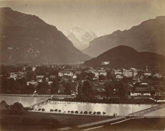 Interlaken city view mountains bridge over river antique photo Switzerland