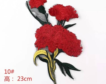 1 piece of red flower sew on patch/ badge