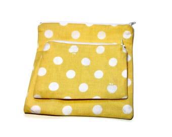 Reusable Sandwich and Snack Bags Set of 2 Yellow White Polka Dot