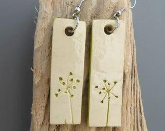 Earrings ceramic green flower print