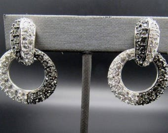 Nolan Miller Two Tone Silver Earrings with Crystals - Convertible Clip Ons - S2118