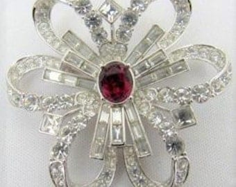 Nolan Miller Crystal Bow Pin - Silver Tone with Red Center Stone - S2438