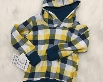 Yellow blue plaid Hoodie - plaid Hoodie - mistard navy Hooded Sweatshirt - Sweater - Baby Sweatshirt - Baby Hoodie - Toddler Sweatshirt