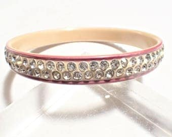 Art Deco Celluloid Cream and Maroon with Double Row Clear Rhinestones Bangle Bracelet