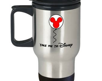 Take Me to Disney Mickey Mouse Balloon Gift Travel Mug Coffee Fun Trip