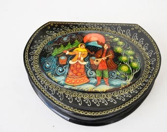 Vintage hand made russian wooden jewelry box